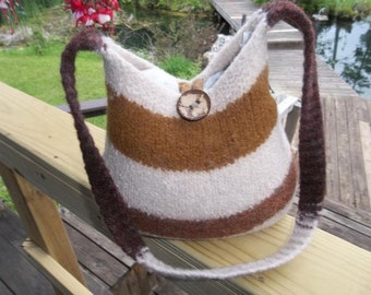 11-1010  Handknitted felted wool purse,tote,handbag fs