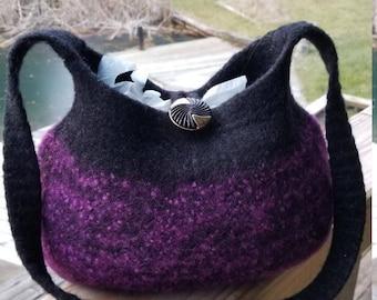 13-1186 Handknitted felted wool purse,tote,handbag fs