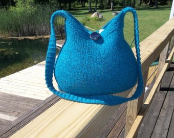 11-1023  Handknitted felted wool purse,tote,handbag fs