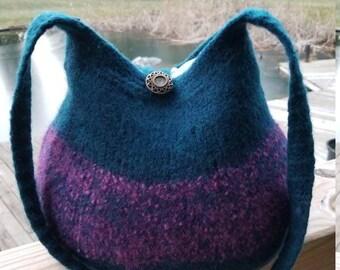 13-1178 Handknitted felted wool purse,tote,handbag fs