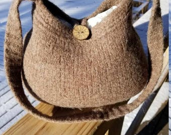 11-1021 Handknitted felted wool purse,tote,handbag fs