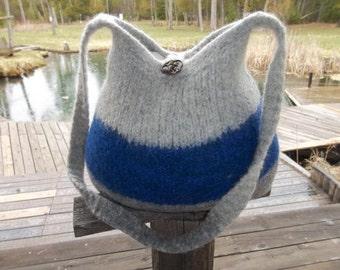 13-105 Handknitted felted wool purse,tote,handbag fs