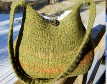 11-1049 Handknitted felted wool purse,tote,handbag fs