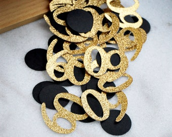 Black And Gold 60th Birthday Decorations Ideas 60 Number Confetti