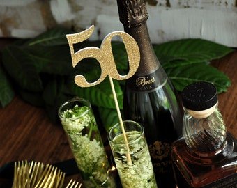 50th Birthday Party Centerpiece Set of 5.  50th Birthday Pick.  50 Birthday Centerpiece.
