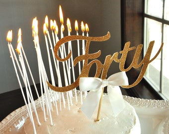 40th Birthday Cake Topper And Candle Combo Forty Decorations