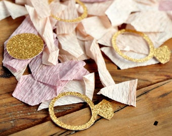 mini gold ring confetti mix ring confetti with ombre crepe spring bridal shower ideas