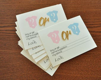Gender Reveal Party Prediction Cards 10CT. Handcrafted in 2-5 Business Days.  Gender Reveal Party Ideas.