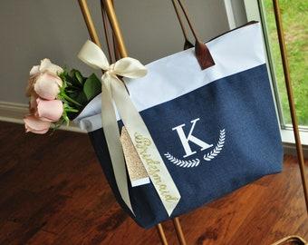 Personalize Bridesmaid Tote (Qty. 1).  Initial Tote with Bridesmaid Ribbon. Wedding Tote Bag. NRT.