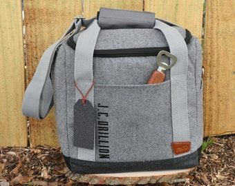 Groomsmen Cooler. Groomsmen Gift. (Qty. 1) Personalize Cooler Bag. Gift for Man. Silver Cooler with Bottle Opener. S12WC.