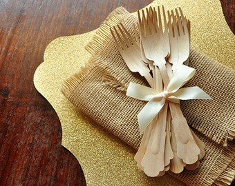 Wooden Forks for Wedding Tablesettings.  Barouque Style Wooden Cutlery.  Eco Friendly Party Utensils.