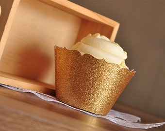 Gold Cupcake Wrappers for 40th Birthday Party.  Handcrafted in 2-5 Business Days.  Gold Cupcake Holder.  Wedding Cupcake Wrappers 12CT.