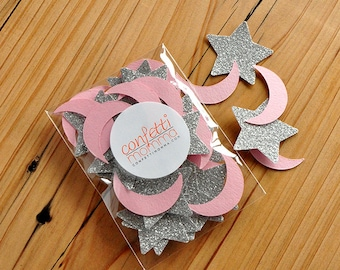 Twinkle Twinkle Little Star Party Decoration.  Pink and Silver Decor. Handcrafted in 2-5 Business Days.  Moon and Stars Confetti 50CT Pack.