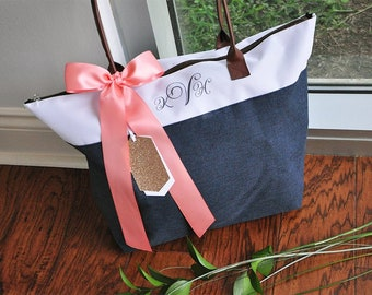 28d157809902 Personalize Tote Bag for Bridesmaids (Qty. 1). Monogram Tote Bag with Zipper.  Navy Bridesmaid Gift Bag. NRT.