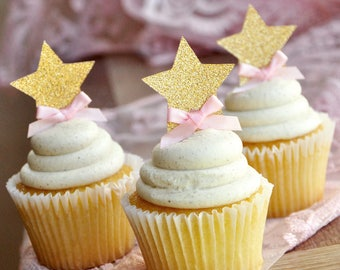 Pink and Gold Birthday Decorations.  Handcrafted in 2-5 Business Days.  Glitter Gold Star Cupcake Toppers.  12CT.