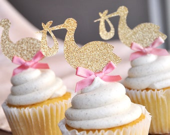 Baby Girl Shower Decorations.   Stork Cupcake Toppers 12CT.