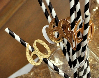 Black And Gold Straws For 60th Party 10CT Birthday Decorations Supplies