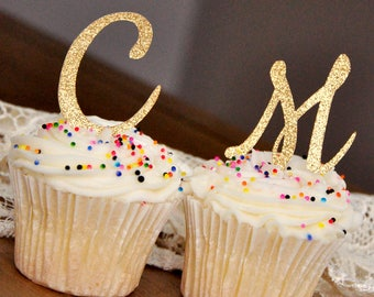 Initial Letter Cupcake Toppers.  Set of 12.  Handcrafted in 2-5 Business Days.   Pink and Gold Birthday Party Decorations.