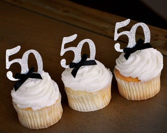 50th Birthday Party Ideas Glitter Silver Number 50 Cupcake Toppers 12CT