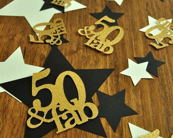 50 And Fabulous 50th Birthday Decorations Star Confetti Large Table 36CT