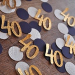 40th Birthday Decoration.   40 Number Confetti 50CT. Woodgrain Plum and Glitter Gold Confetti.