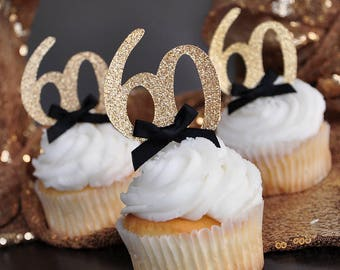 60th Birthday Party Ideas Glitter Gold Number 60 Cupcake Toppers 12CT