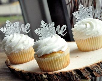 Winter ONEderland Cupcake Topper (12 pack). Winter ONEderland Decoration. Snowflake Cupcake Topper. Number 1 Cupcake Topper.