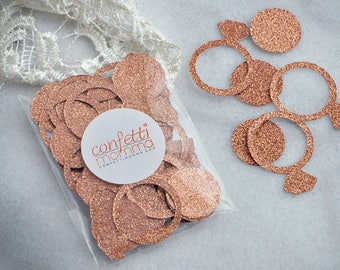 Rose Gold Bridal Shower Decorations. Made in 2-5 Business Days. Bachelorette Party Decorations. Ring Confetti Rose Gold.