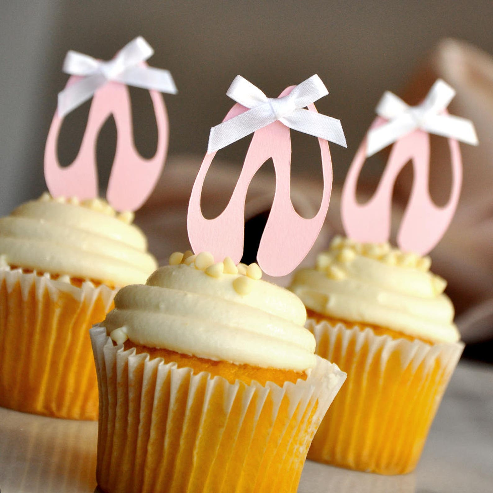 ballerina cupcake toppers. ballerina party decorations. ballet slippers 12ct.