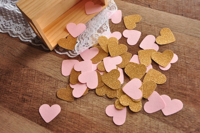 Pink and Gold Party Decorations.  Handcrafted in 3-6 Business Days. Pink and Gold Heart Confetti 50CT