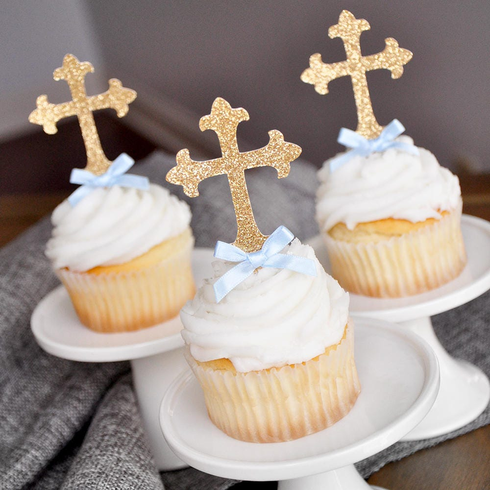 1 x Cross Acrylic Cupcake Cup Cake Topper Pick Baptism Christening Party Picks