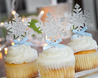 Snowflake Cupcake Toppers 12CT.  Handcrafted in 2-5 Business Days.  Frozen Party Cupcake Toppers.