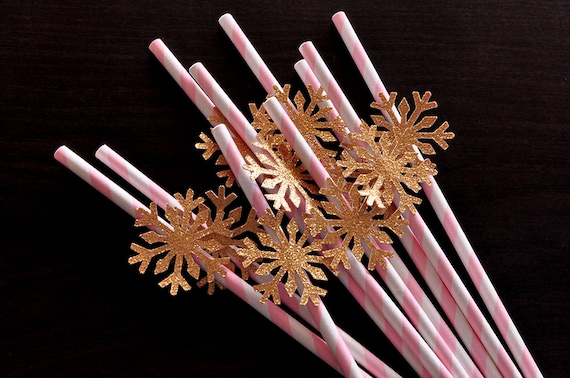 Pink and Gold Party Decorations.  Handcrafted in 3-6 Business Days.  Snowflake Straws 10CT.  Winter Onederland Birthday.