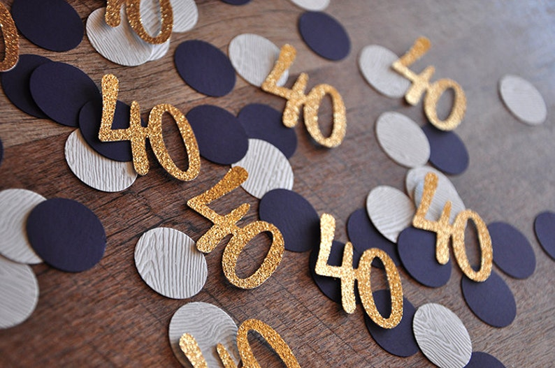 40th Birthday Decoration.   40 Number Confetti 50CT. Woodgrain image 0