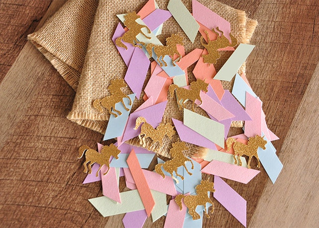 Unicorn Party Decorations.  Handcrafted in 3-6 Business Days.  Pastel Unicorn Confetti Mix. Pastel Party Decor.