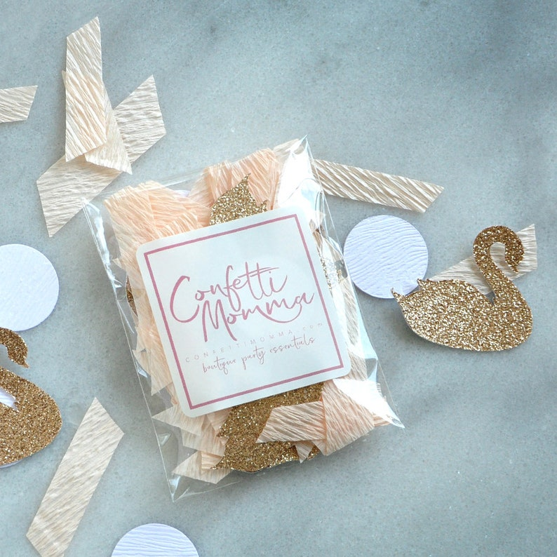 Swan Princess Birthday Party Decorations Peach and Champagne Swan Confetti. Swan Lake Party Confetti