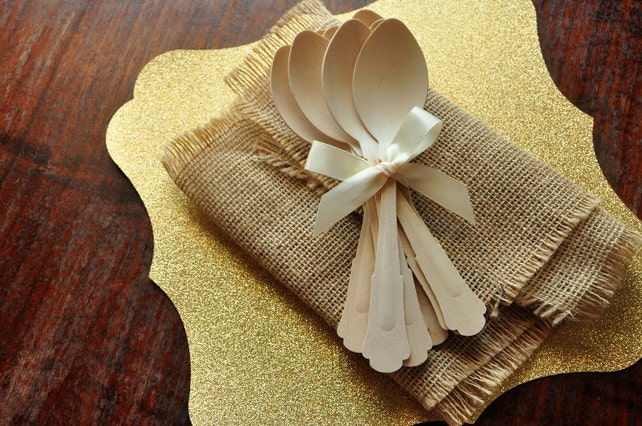 Disposable Wooden Spoons.  Handcrafted in 3-6 Business Days.  Barouque Style Wooden Cutlery.  Eco Friendly Party Utensils.