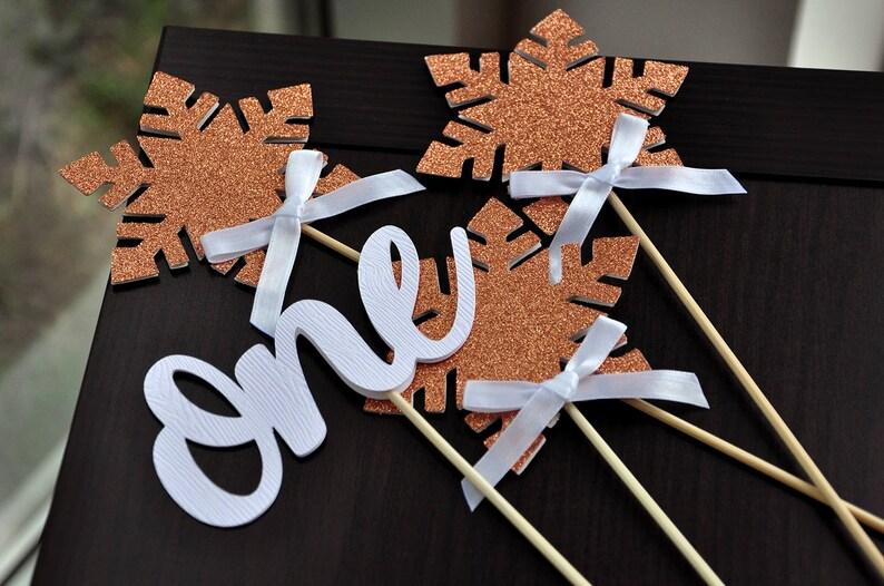 Winter Onederland Decoration Centerpiece in Rose Gold 1st Birthday Snowflake Decor Winter Onederland 4 Pieces