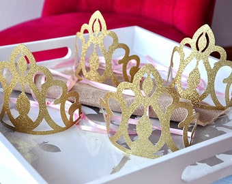 Pink and Gold Birthday Party Decoration.  Handcrafted in 2-5 Business Days.  Princess Crowns as Party Favors.