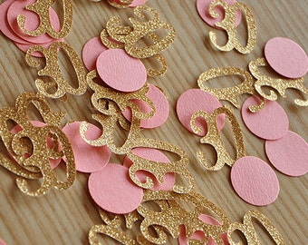 30th Birthday Decor.    Number and Circle Confetti in Glitter Gold and Coral 50 CT.