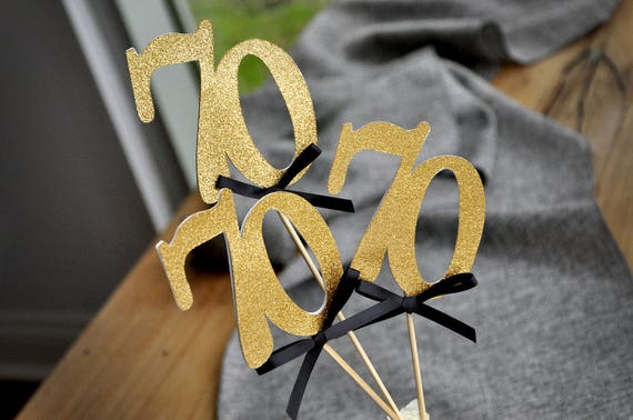 70th Birthday Centerpieces In Gold And Black 70 Party Decorations Anniversary Centerpiece Set Of 3