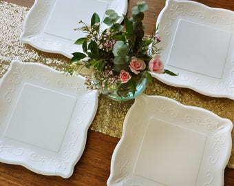 10  Square Plates. Set of 8. Ready in 2-5 Business Days. Scalloped Edge Paper Dinner Plates. Ivory Embossed Plates. : embossed paper plates - pezcame.com