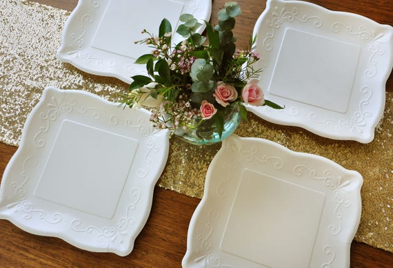 """Wedding Plates. 10"""" Square Plates. Set of 8. Ready in 3-6 Business Days. Scalloped Edge Paper Dinner Plates. Ivory Embossed Plates."""