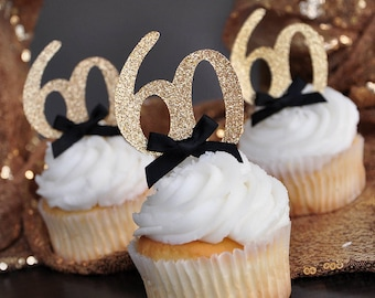 """60th Birthday Party Ideas.   Glitter Gold Number """"60"""" Cupcake Toppers 12CT."""