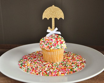 Baby Shower Decorations.  Handcrafted in 2-5 Business Days. Sprinkle Shower.  Umbrella Cupcake Toppers 12CT.