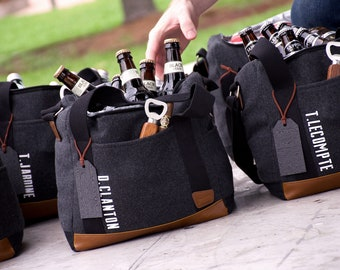 Personalized Groomsmen Gift (Qty 1). Gray Cooler Bag with Strap. Groomsmen Cooler Beer Bag. G12WC.