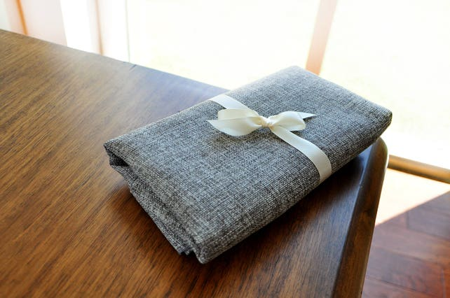 Gray Table Runner 108 inches with Burlap Look. Maufactured in the USA. Charcoal Grey Table Runner.
