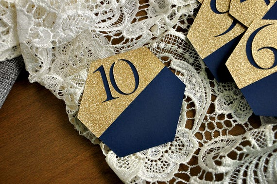 791bfe9ac Navy Wedding Table Number. Gold and Navy Wedding. Navy Blue Table Numbers. Geometric  Wedding Decorations.