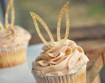 Bunny Ear Cupcake Toppers 12CT. Ships in 2-5 Business Days. Bunny Cupcake Decorations. Easter Cupcake Picks.