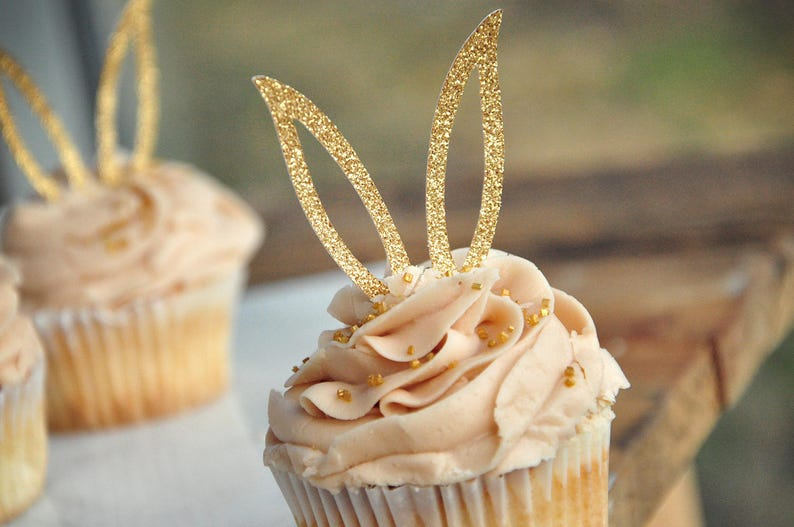 Bunny Ear Cupcake Toppers 12CT. Bunny Cupcake Decorations. image 0